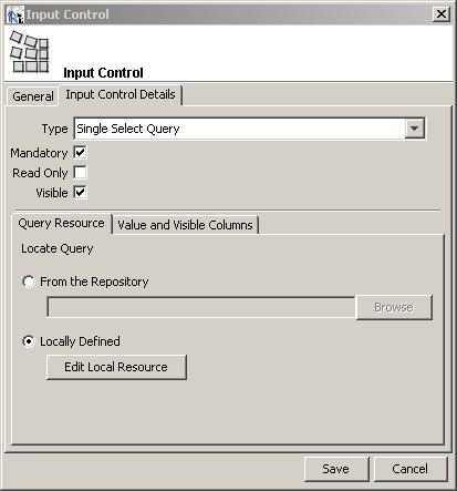jasper reports input control details