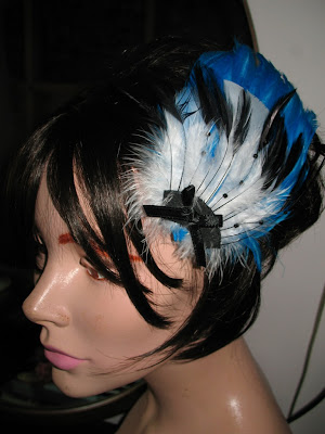Turquoise burlesque feather fascinator