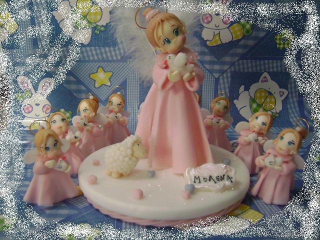 adorno para torta y souvenirs angelitas