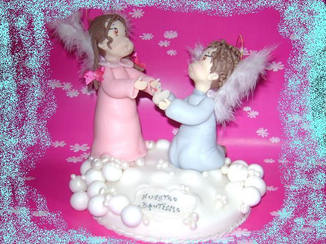 adorno torta bautismo hermanitos