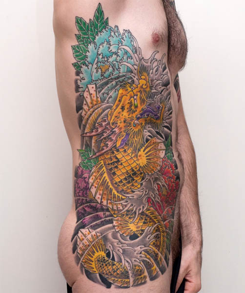 This amazing side tattoo combines the traditional Japanese koi with a dragon