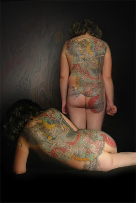 color tattoo, back tattoo,  full tattoo