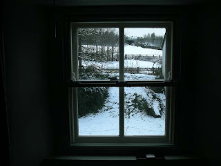 View through studio window - snow