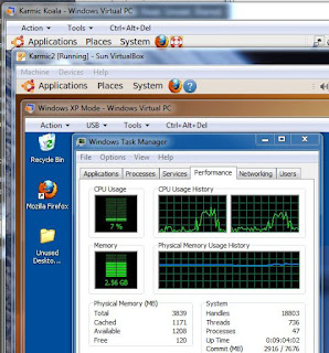 2 instances of Karmic Koala and an XP-Mode VM running in 7 Prof 64