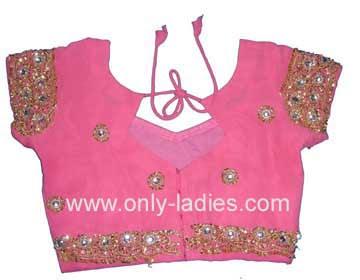 Princess cut designer saree blouse front and back neck designs