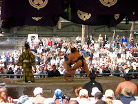 Grasping sumo wrestlers at 靖国神社 (Yasukuni shrine)