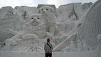 Me in front of the huge snow statue on an oceanic theme in 札幌 (Sapporo)
