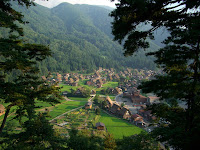 Village from above at 白川郷 (Shirakawa-go)