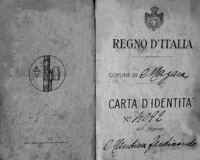 1945 - documento di ricoscimento