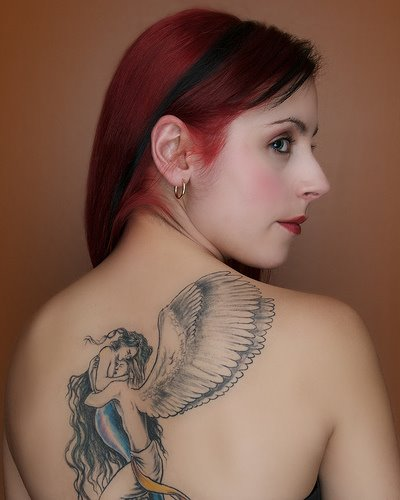 angel tattoo on back body for sexy girl