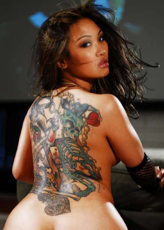Custom Tattoo Designs: sexy girl with tribal butterfly tattoo on the back