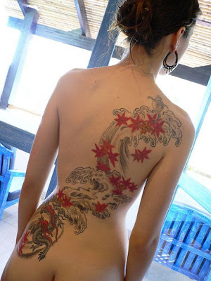 tattoo women back, dragon tattoo and flower tattoo