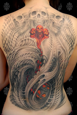 Skull Full Back Popular Tattoo Sexy Girls