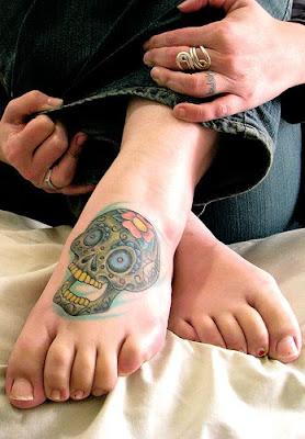 skull tattoo, foot tattoo, popular tattoo sexy girls