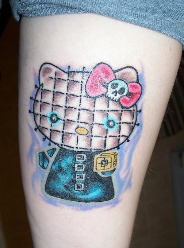 Hello Kitty tattoo, leg tattoo design, sexy girls tattoo