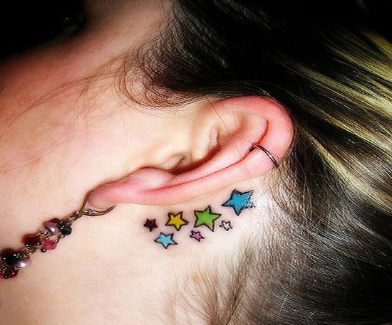 star tattoos on legs. star tattoos behind ear