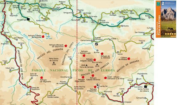 Mapa turístico de Picos de Europa