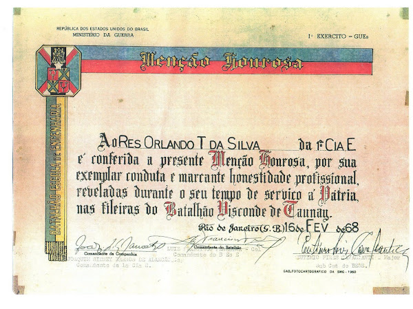 Certificado de mérito do Exército Brasileiro