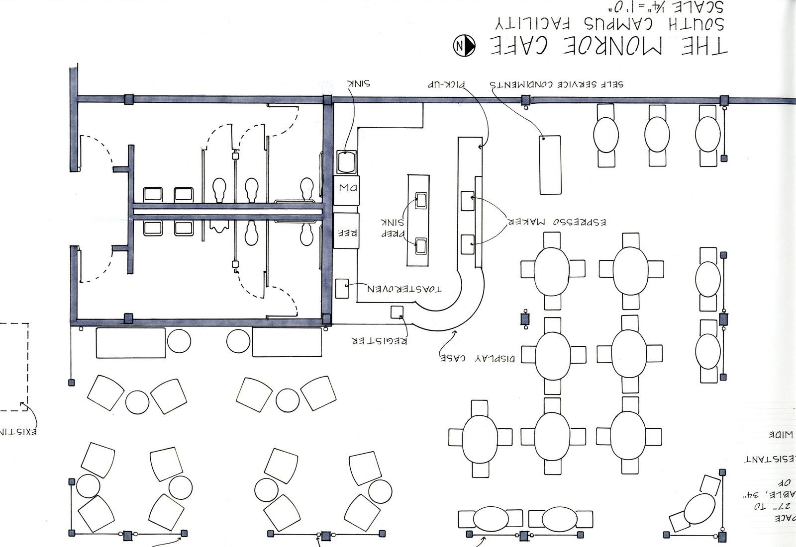 Shannon stewart the monroe cafe for Cafe floor plan design