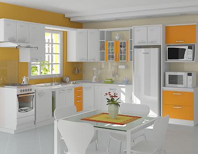 Decoração de cozinha verde e laranja