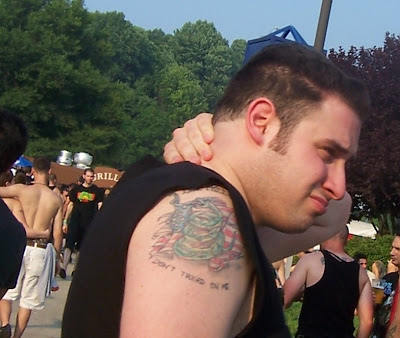 A closer view reveals a pretty nice Don't Tread on Me tattoo