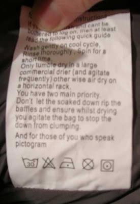 instrucciones lavado pluma