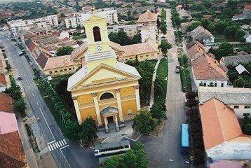 Vedere aeriana a biserici romano-catolice