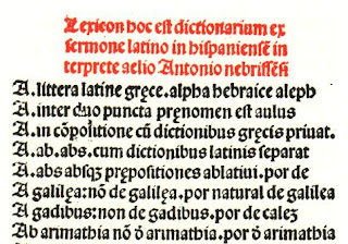 Fragmento del 'Vocabulario latinoespañol de Nebrija (1492)