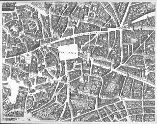 Imagen del plano de Texeira. A la derecha y en el centro, la Plaza del Ángel
