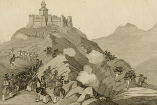 Grabado que representa la lucha entre cristinos y carlistas en Arlabán en 1836