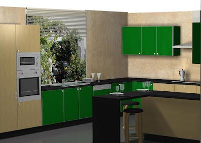 Dise o de cocina en madera postformada y verde manzana for Aplicacion diseno cocinas