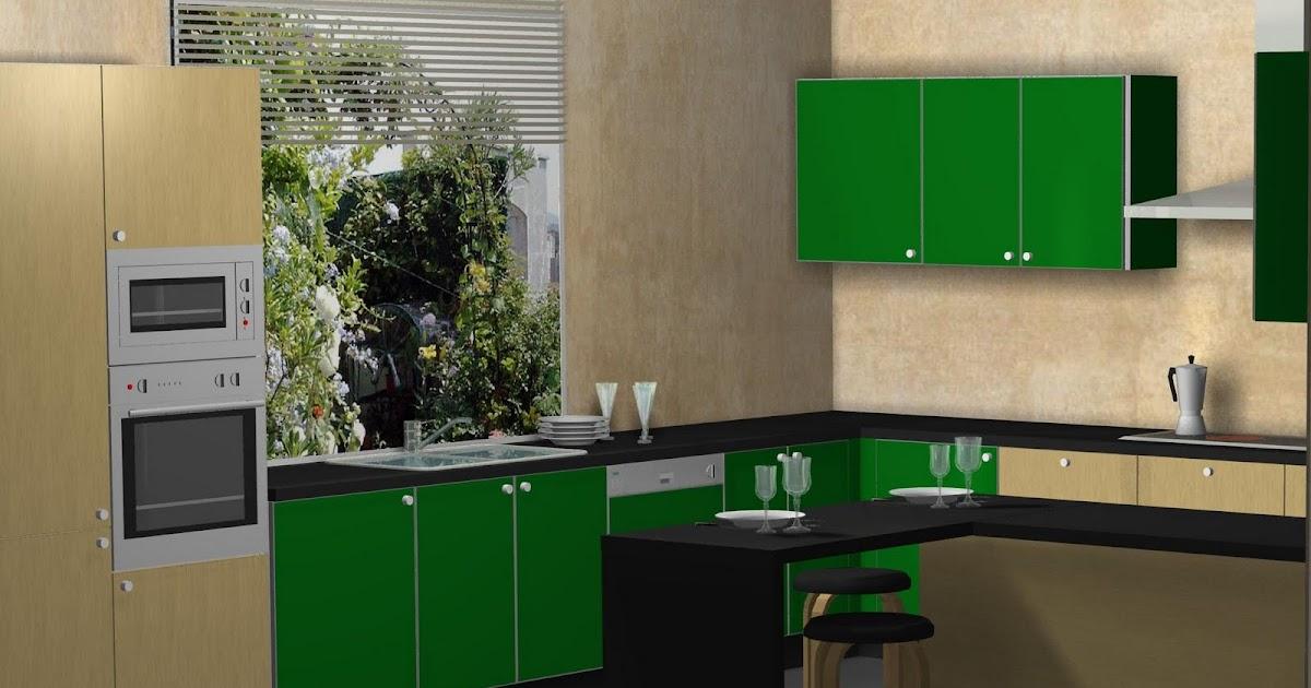 Dise o de cocina en madera postformada y verde manzana for Aplicacion para diseno de cocinas
