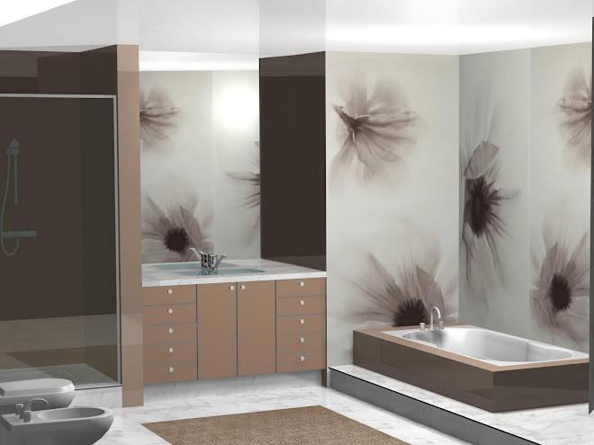 Diseño de baño, con ducha y bañera