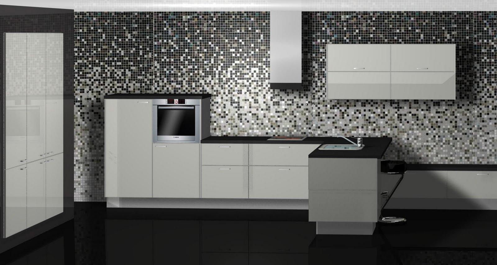 Dise o de cocina con azulejos pixelados for Disenos de azulejos para cocina