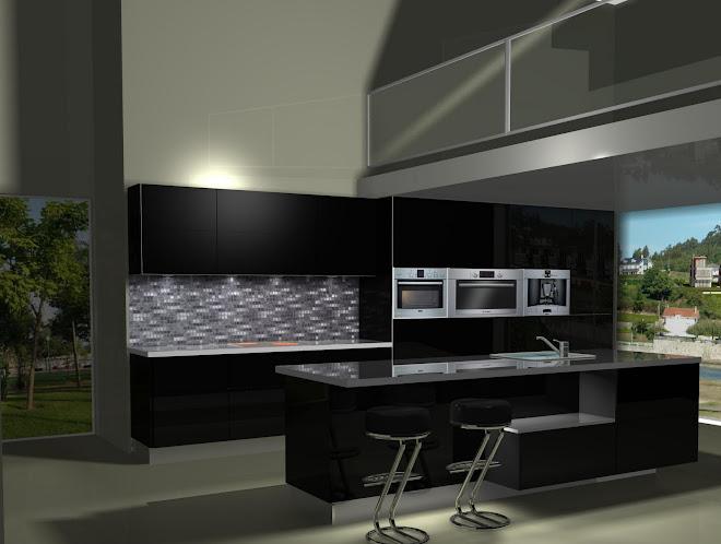 Diseño de cocina en negro
