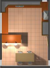 Vista en planta de la cocina de roble