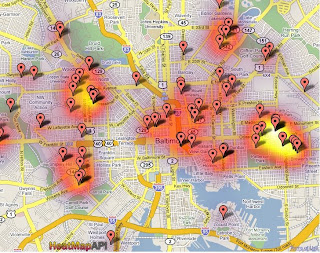 Example Shooting Heat Maps For Baltimore | SpotCrime - The Public's on