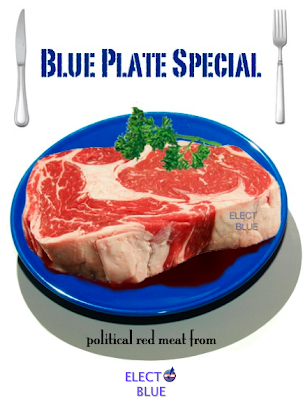 Raw Steak On Blue Plate