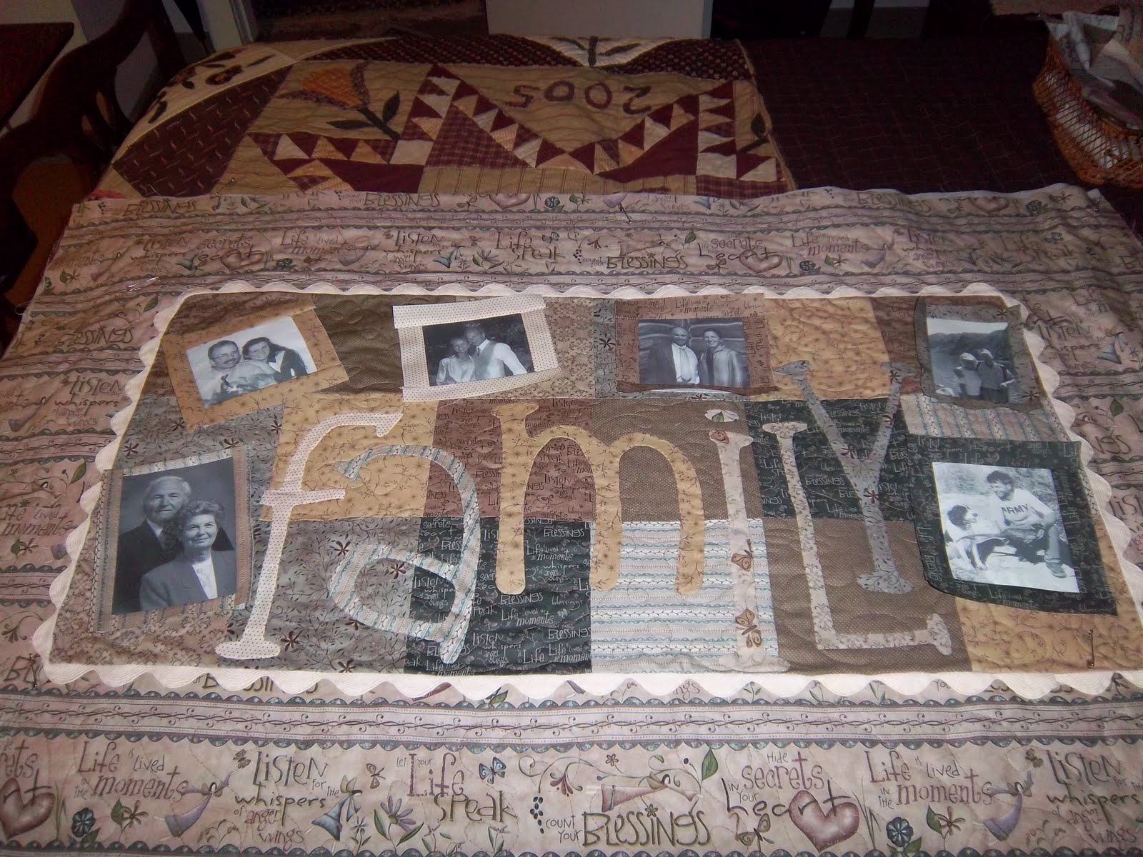 Tom Miner Quilts and Folk Art: Bailey and The Family Quilt progress : quilt with family pictures - Adamdwight.com