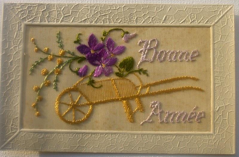 Cartes postales anciennes: Carte ancienne brodée : pensée et brouette