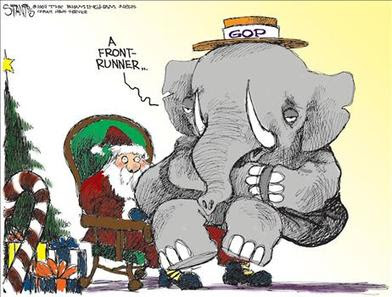 political cartoon by Scott Stanis- Gop asks Santa fora Front Runner