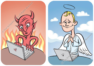 Devil and Angel with laptop computer