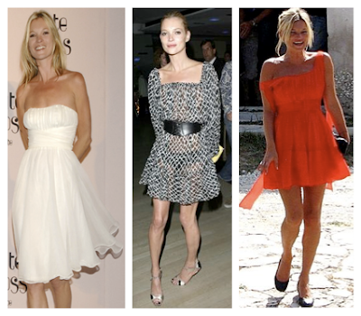 Looks Kate Moss con mini, mini vestidos