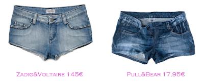 Shorts y bermudas: Zadig&Voltaire 145€ - Pull&Bear 17,95€