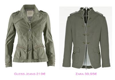 Chaquetas militares: Guess Jeans 219€ - Zara 39,95€