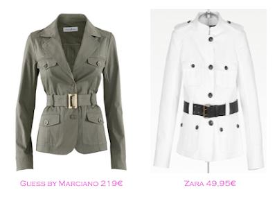 Chaquetas militares: Guess by Marciano 219€ - Zara 49,95€