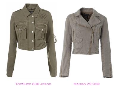 Chaquetas militares: TopShop 60€ aprox. - Mango 29,95€