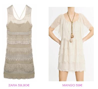 Comparativa precios vestidos lenceros: Zara 59,90€ vs Mango 59€
