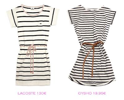 Comparativa precios: Vestidos rayas marineras: Lacoste 130€ vs Oysho 19,95€