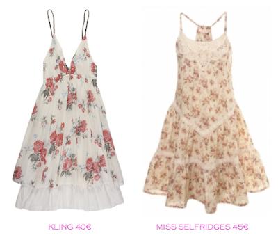 Comparativa precios: Vestidos print floral: Kling 40€ vs Miss Selfridges 45€